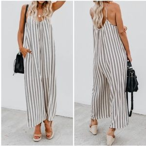 Pants - Ivory Stripe Crepe Wide Leg Pocket Jumpsuit